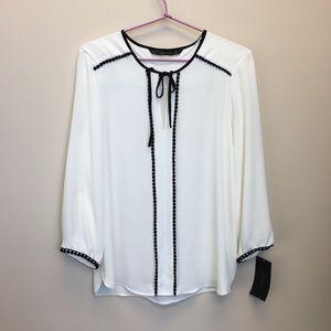 Zara Black Ribbon Trim Blouse