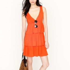 J. Crew Orange Ruffle Tiered Dress