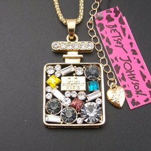 Cute inlay cCrystal Perfume Bottle Necklace Betsey