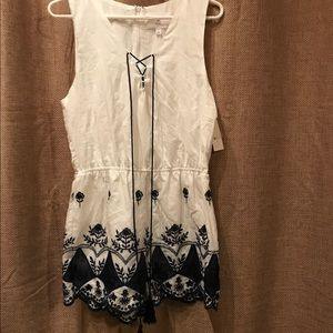 Navy and white Romper with floral embroidery