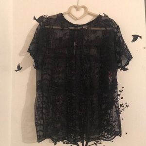 NWT Black Lace Top