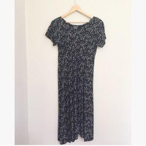 Vintage Floral Midi T Shirt Dress