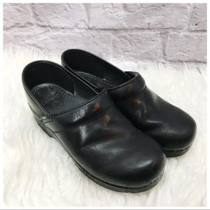 •Dansko• 39 Black Leather Slip Clogs Professional