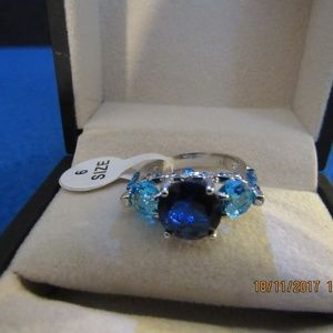 Jewelry - DR154.  Silver Turquoise and Blue Ring. Size 6
