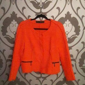 Zara Orange Tweed Blazer