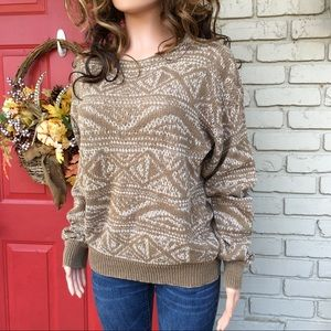 Vintage tan and white mingled look sweater