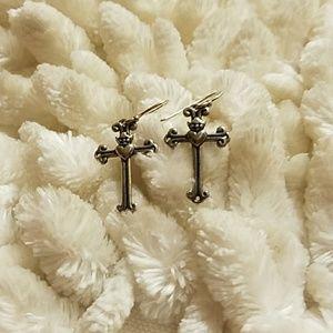 Sterling silver 💙🖤 cross earrings💙🖤