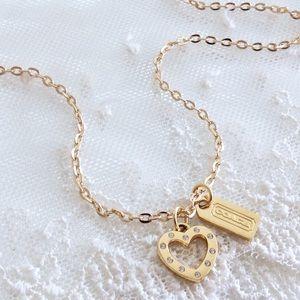 Coach Pave Heart Hangtag Charm Necklace