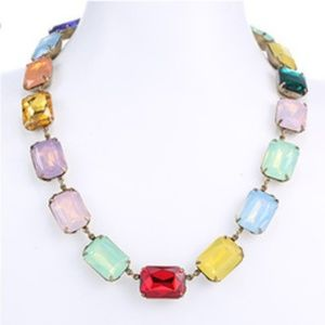 Beautiful Rainbow Gems Gold Adjustable Necklace