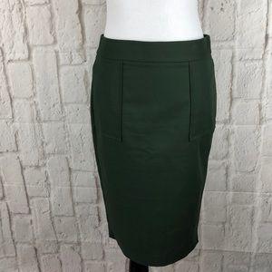 Zara basics olive green pencil skirt