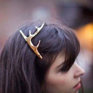 Christmas Holiday Gold Reindeer Antler Hair Clip