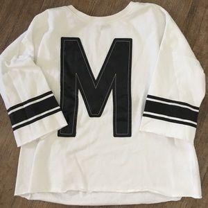 Forever 21 'M' White & pleather sweatshirt, Large