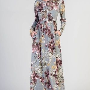 Dresses & Skirts - Gray Floral Maxi Dress