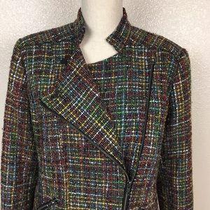 Coldwater Creek Multi Color Tweed Moto Jacket