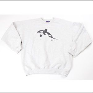 Vintage 90s whale print novelty crewneck sweater