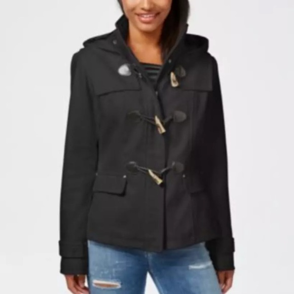 51d24880808 Celebrity Pink Juniors Hooded Toggle Peacoat XS