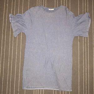 T shirt dress with ruffle sleeve