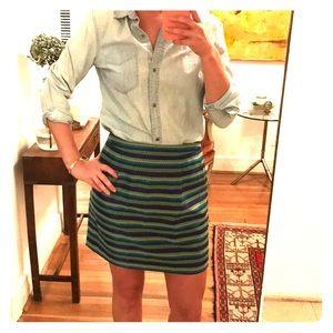 J Crew High Waist Metallic Skirt