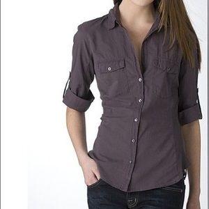 James Perse purple contrast button down shirt