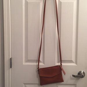 Tan express cross-body purse