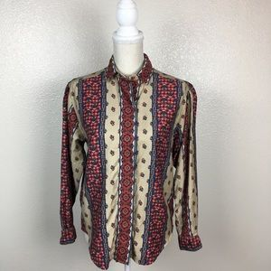 Vintage John Henry Embroidery Print Button Down