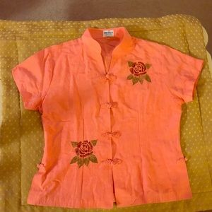 Lovely 100% Silk Cambodia Floral Top