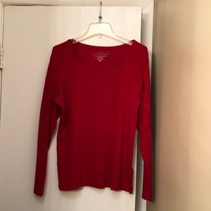 Red long sleeve.