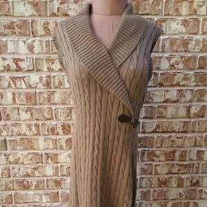 Calvin Klein Cable Knit Cowl Neck Sleeveless Dress