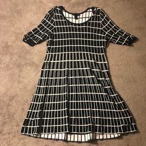 LANE BRYANT Black Knit Grid Dress NEW CONDITION
