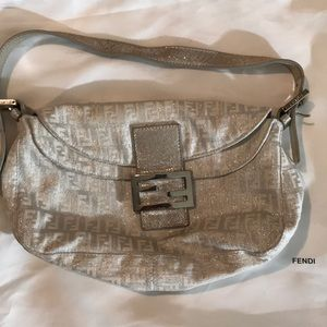 White & Silver FENDI hand bag