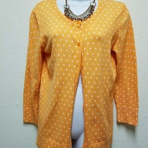 Orange and white polka dot cardigan
