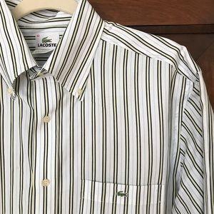 Lacoste Mens Button Down Collar Dress Shirt