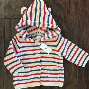 NWT Baby Gap Striped Knit Bear Sweater