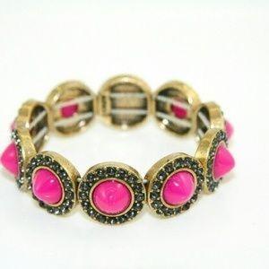 J. Crew 💖 Pink & Gold Elastic Bangle Bracelet