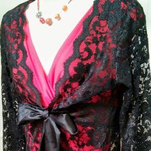 CAbi Black Lace Evening Top