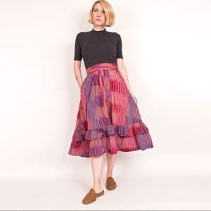 Vintage 70s India cotton high waist midi skirt