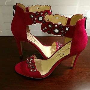 Jessica Simpson Cut Out Ankle Strap Heels