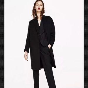 ZARA Black Masculine Wool Coat with Zip