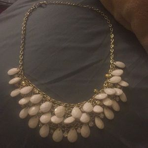Loft White and gold statement necklace