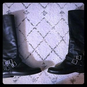 Flat black moto boots Size 7