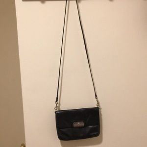 Real coach black leather side bag