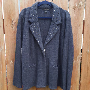 Wool Zip Up Cardigan Size 3X