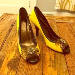 Yellow wool feather peep toe heals J. Crew