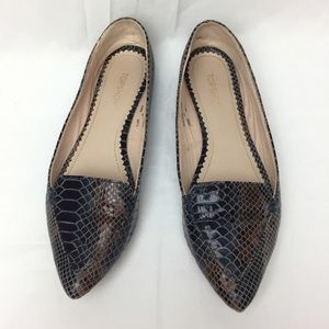 Topshop faux snake print blue and brown loafers