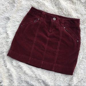 ALTHLETA Burgundy Corduroy Mini Skirt