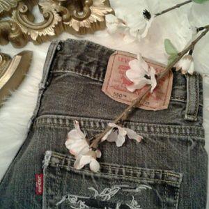 "Levis 25"" Vtg High Waist Distressed Shorts"