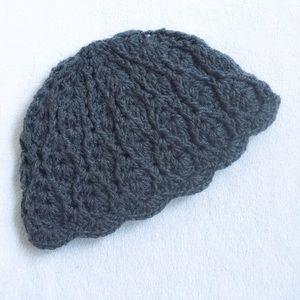 Wool Scalloped Beanie Hat