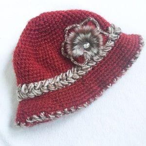 Faux Fur Flower Knit Bucket Hat