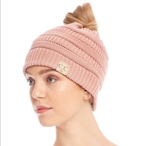 Messy Bun Beanie by C+C in Pink