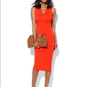 NY&Company lace up bodycon dress XL